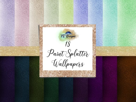Print on Demand: Paint Splatter Wallpapers Graphic Backgrounds By TE Designs