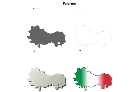 Download Free Palermo Outline Map Set Graphic By Davidzydd Creative Fabrica for Cricut Explore, Silhouette and other cutting machines.