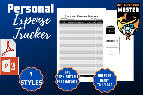 Print on Demand: Personal Expense Tracker Graphic KDP Interiors By KDP_Interiors_Master