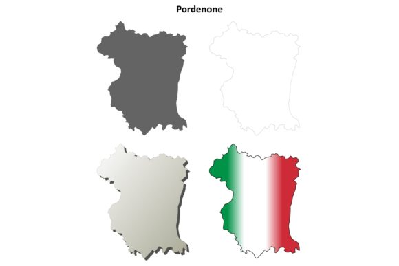Download Free Pordenone Outline Map Set Graphic By Davidzydd Creative Fabrica for Cricut Explore, Silhouette and other cutting machines.