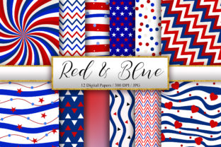 Print on Demand: Red and Blue Background Digital Papers Graphic Backgrounds By PinkPearly