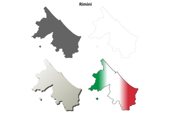 Download Free Rimini Outline Map Set Graphic By Davidzydd Creative Fabrica for Cricut Explore, Silhouette and other cutting machines.
