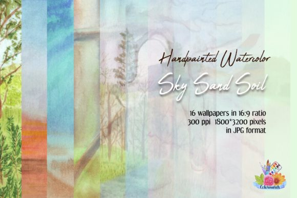 Sky Sand Soil Watercolor Wallpaper Graphic Illustrations By Colormarch