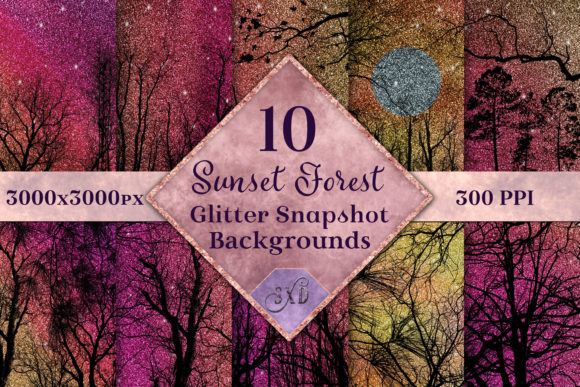 Print on Demand: Sunset Forest Glitter Backgrounds Graphic Backgrounds By SapphireXDesigns
