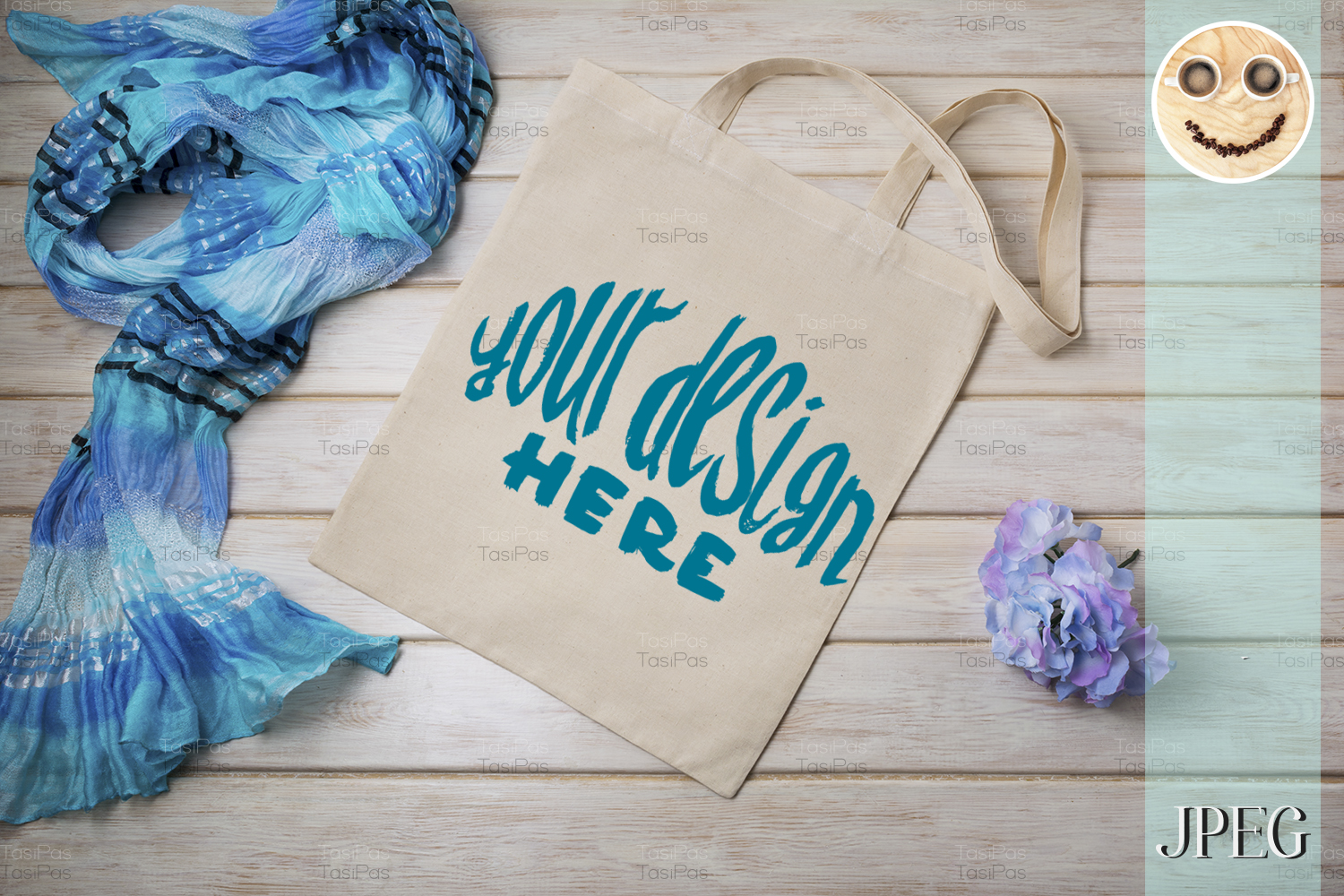 Download Free Tote Bag Mockup With Blue Scarf Graphic By Tasipas Creative for Cricut Explore, Silhouette and other cutting machines.