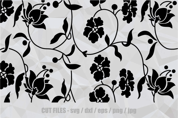 Download Free Vintage Floral Japanese Cut File Pattern Graphic By Prawny for Cricut Explore, Silhouette and other cutting machines.