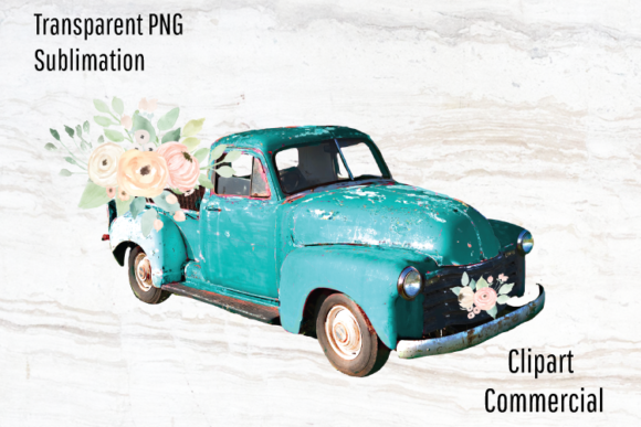Print on Demand: Vintage Truck Clipart, Sublimation Graphic Illustrations By Blueberry Jam Design