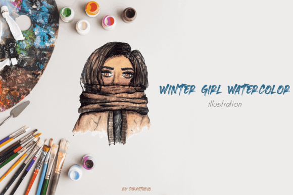 Download Free Winter Girl Watercolor Graphic By Dirastudio Creative Fabrica for Cricut Explore, Silhouette and other cutting machines.