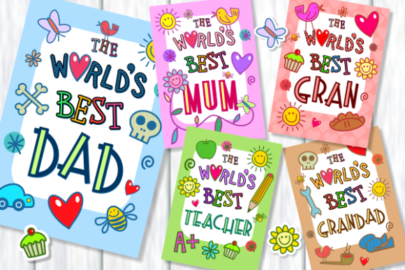 Download Free Worlds Best Mum Dad Family Poster Set Graphic By Prawny for Cricut Explore, Silhouette and other cutting machines.