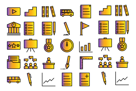 Education Material and All About School Graphic Icons By Designvector10