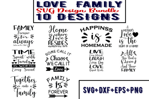 Download Free Love Family Bundle Graphic By Design Store Creative Fabrica for Cricut Explore, Silhouette and other cutting machines.
