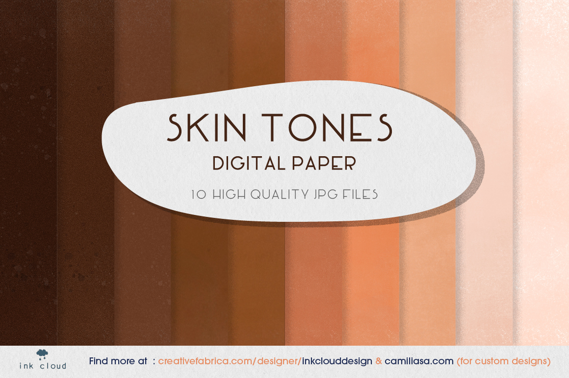 Download Free 10 Skin Tones Brown Beige Digital Paper Graphic By for Cricut Explore, Silhouette and other cutting machines.