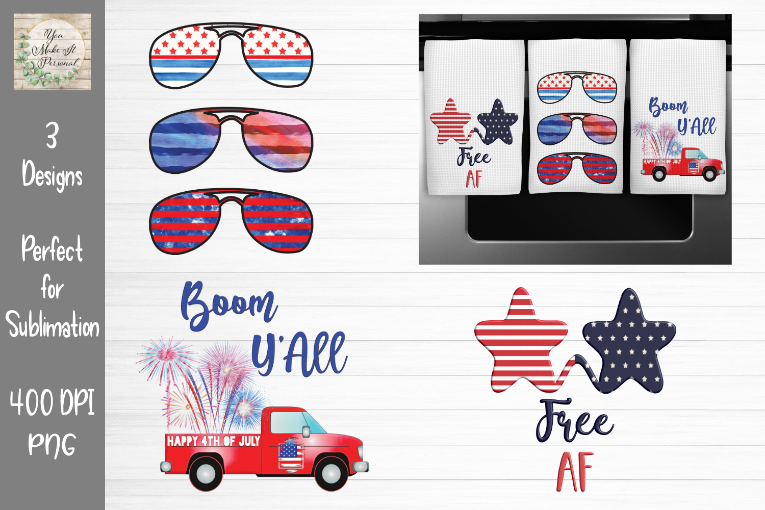 Download Free 4th Of July Sublimation Bundle Graphic By You Make It Personal for Cricut Explore, Silhouette and other cutting machines.