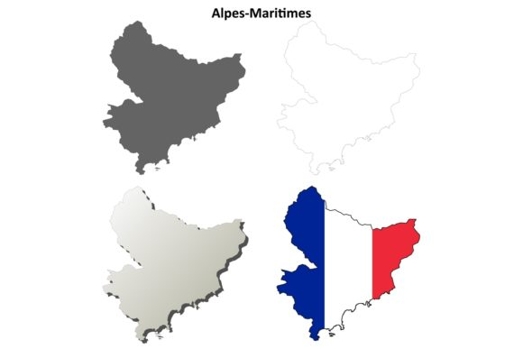 Alpes-Maritimes Outline Map Set Graphic Illustrations By davidzydd