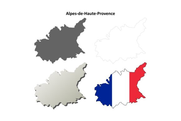 Download Free Alpes De Haute Provence Outline Map Set Graphic By Davidzydd Creative Fabrica for Cricut Explore, Silhouette and other cutting machines.