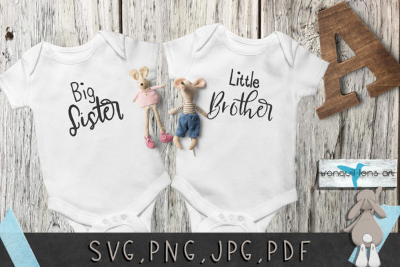 Download Free Big Sister Brother Little Sister Brother Graphic By Tranquil for Cricut Explore, Silhouette and other cutting machines.