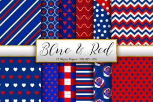 Print on Demand: Blue and Red Pattern Background Graphic Patterns By PinkPearly