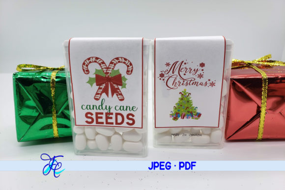 Download Free Candy Cane Seeds Tic Tac Labels Graphic By Family Creations for Cricut Explore, Silhouette and other cutting machines.