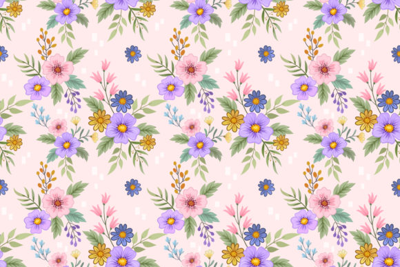 Download Free Hand Draw Flowers Seamless Pattern Graphic By Ranger262 for Cricut Explore, Silhouette and other cutting machines.