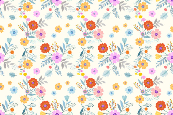 Colorful Hand Drawn Flowers Pattern Graphic By Ranger262