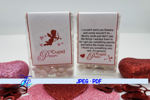 Download Free Cupid Poop Tic Tac Label Graphic By Family Creations for Cricut Explore, Silhouette and other cutting machines.