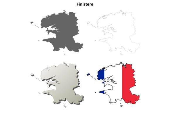 Download Free Finistere Outline Map Set Graphic By Davidzydd Creative Fabrica for Cricut Explore, Silhouette and other cutting machines.
