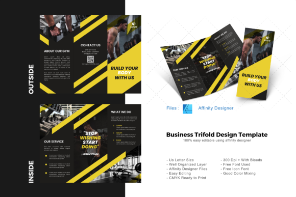 Download Free Fitness Trifold Brochure Template Graphic By Rivatxfz Creative for Cricut Explore, Silhouette and other cutting machines.