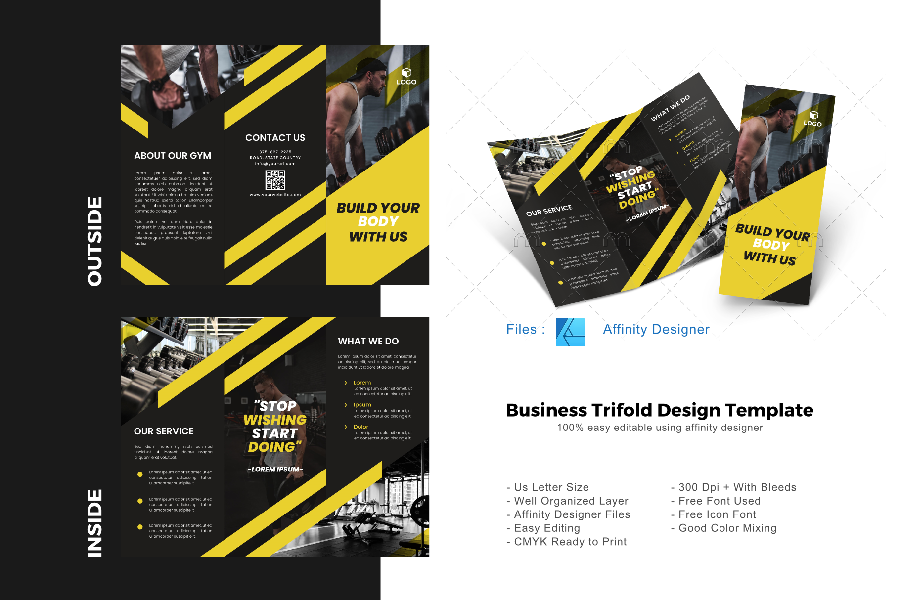 Download Free Fitness Trifold Brochure Template Graphic By Rivatxfz Creative SVG Cut Files