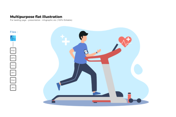 Download Free Flat Illustration Treadmill Graphic By Rivatxfz Creative Fabrica for Cricut Explore, Silhouette and other cutting machines.