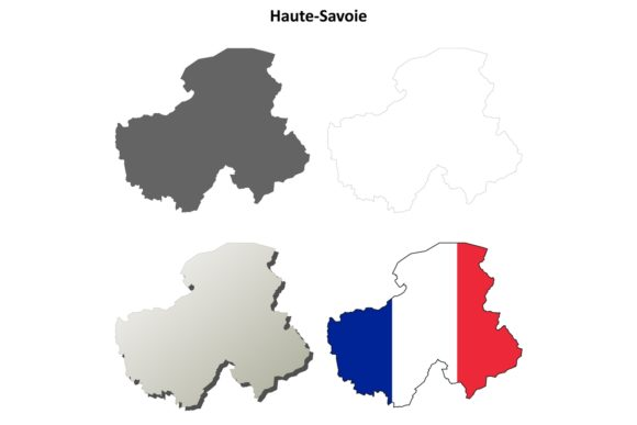 Haute-Savoie Outline Map Set Graphic Illustrations By davidzydd