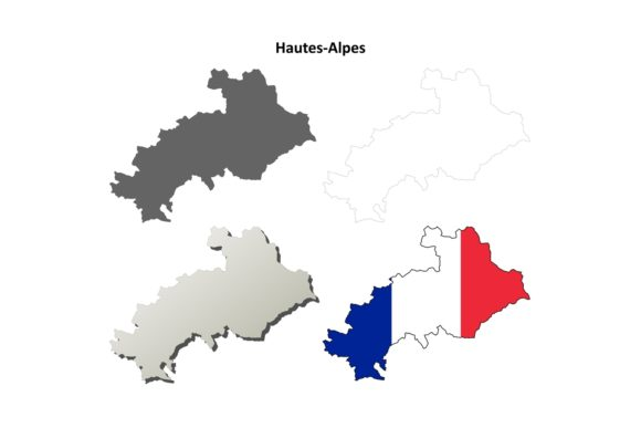 Hautes-Alpes Outline Map Set Graphic Illustrations By davidzydd