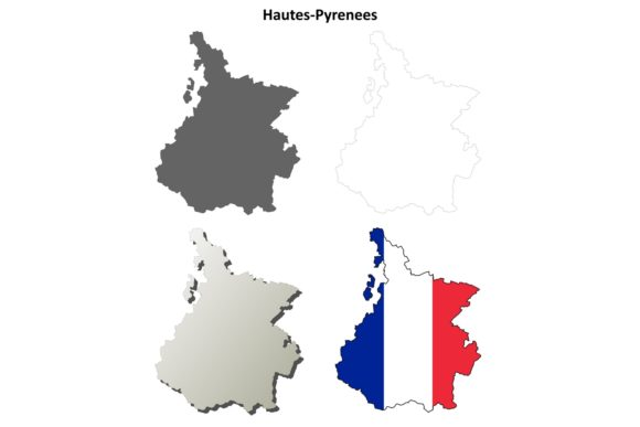 Download Free Hautes Pyrenees Outline Map Set Graphic By Davidzydd Creative Fabrica for Cricut Explore, Silhouette and other cutting machines.