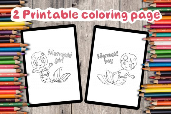 Mermaid Girl and Boy Graphic Coloring Pages & Books Kids By TakeNoteDesign