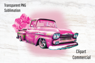 Print on Demand: Pink Vintage Truck Sublimation Design Graphic Illustrations By Blueberry Jam Design