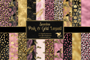 Print on Demand: Pink and Gold Leopard Digital Paper Graphic Backgrounds By Digital Curio