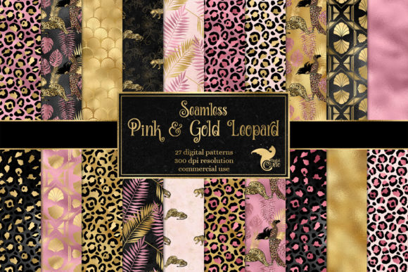 Print on Demand: Pink and Gold Leopard Digital Paper Gráfico Fondos Por Digital Curio