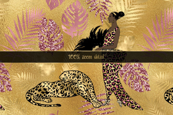 Print on Demand: Pink and Gold Leopard Digital Paper Graphic Backgrounds By Digital Curio - Image 2