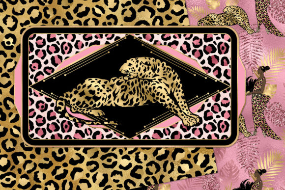 Print on Demand: Pink and Gold Leopard Digital Paper Graphic Backgrounds By Digital Curio - Image 5