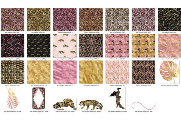Print on Demand: Pink and Gold Leopard Digital Paper Graphic Backgrounds By Digital Curio - Image 6