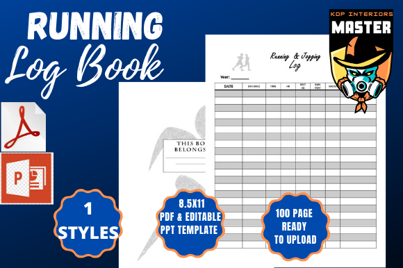 Print on Demand: Running & Jogging Log Book Graphic KDP Interiors By KDP_Interiors_Master