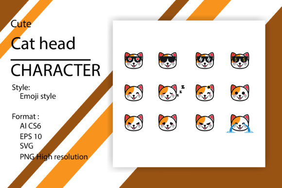 Set of Cute Cat Head Mascot Grafik Illustrationen von sholicha
