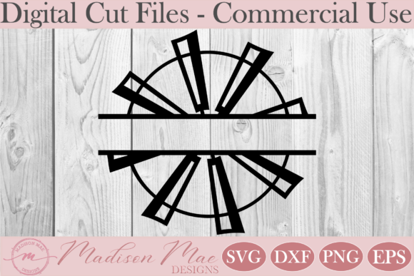Download Free Split Windmill Monogram Frame Graphic By Madison Mae Designs for Cricut Explore, Silhouette and other cutting machines.