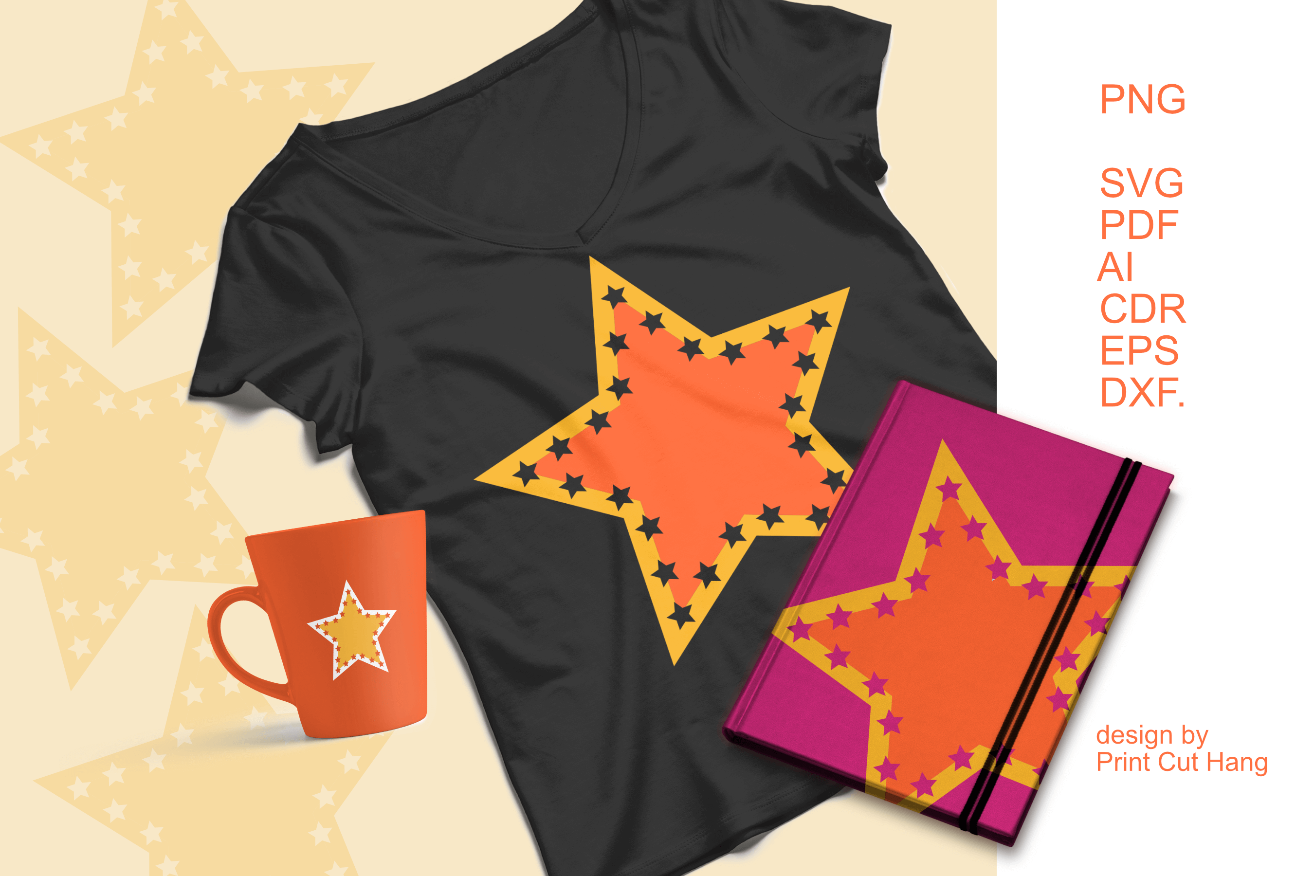 Download Free Star Shape Bicolored Design Graphic By Print Cut Hang Creative for Cricut Explore, Silhouette and other cutting machines.