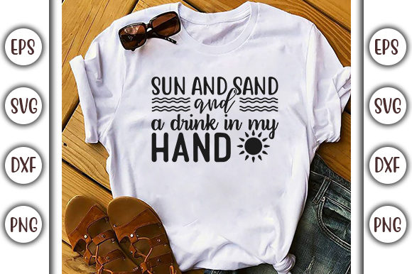 Download Free Summer Beach Design Sun And Sand And Graphic By Graphicsbooth for Cricut Explore, Silhouette and other cutting machines.