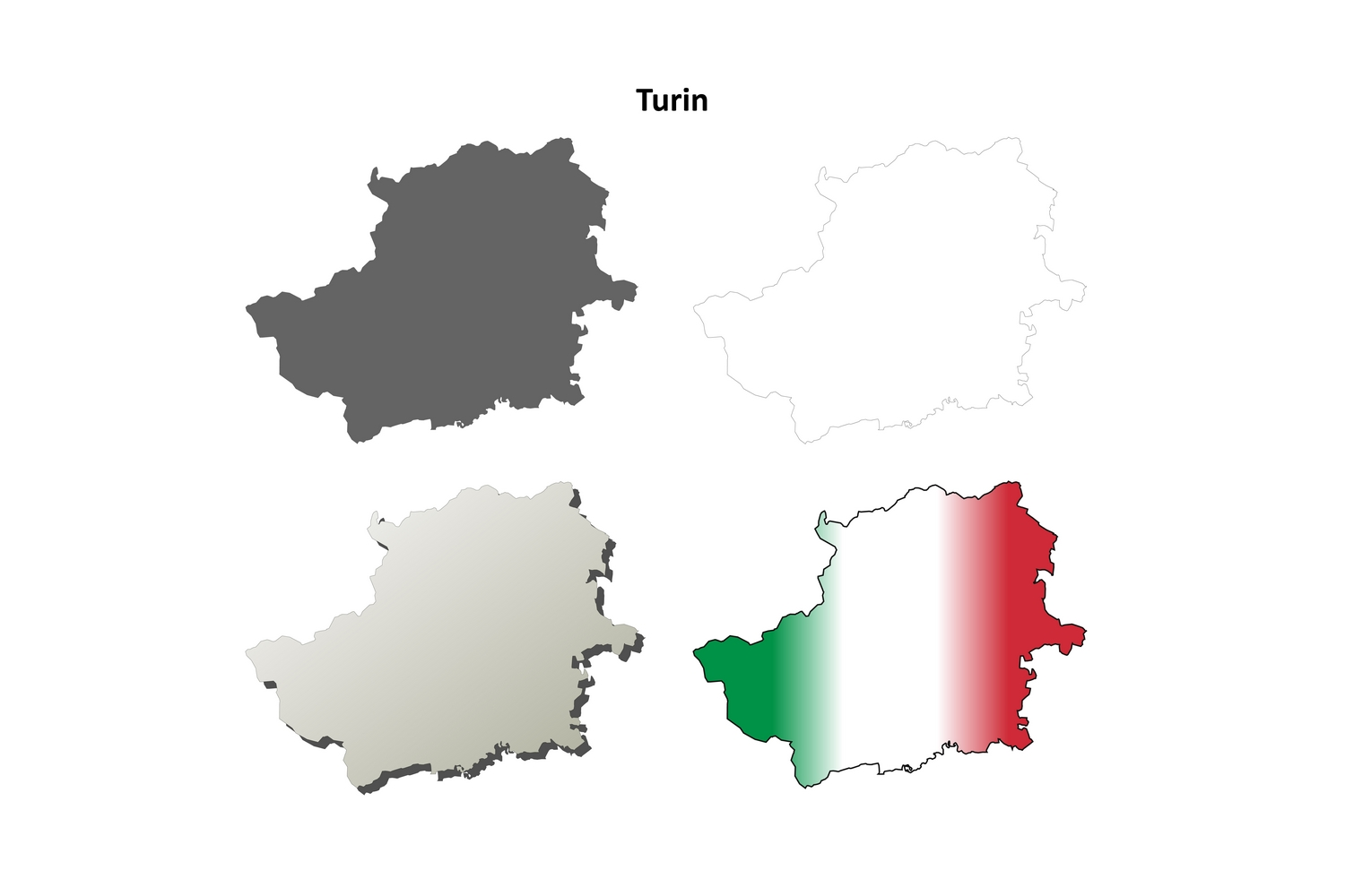Download Free Turin Outline Map Set Graphic By Davidzydd Creative Fabrica for Cricut Explore, Silhouette and other cutting machines.