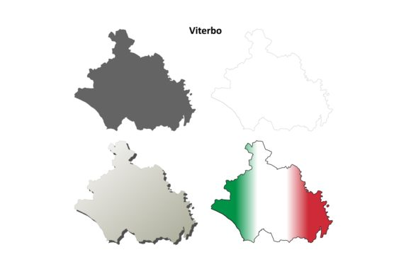 Download Free Viterbo Outline Map Set Graphic By Davidzydd Creative Fabrica for Cricut Explore, Silhouette and other cutting machines.