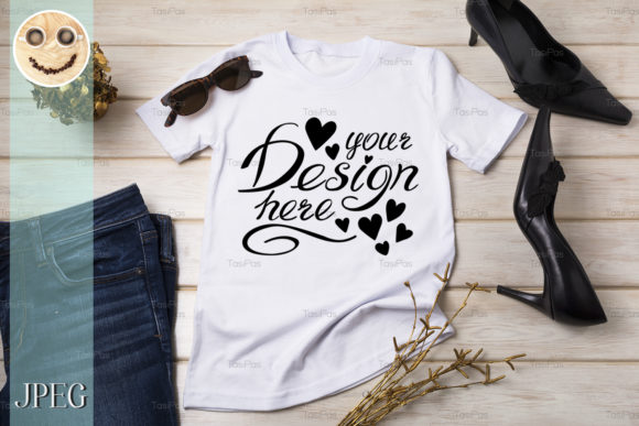 Print on Demand: Women's T-shirt Mockup with Black Heels Graphic Product Mockups By TasiPas