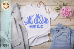 Print on Demand: Women's T-shirt Mockup with Jeans Graphic Product Mockups By TasiPas 1