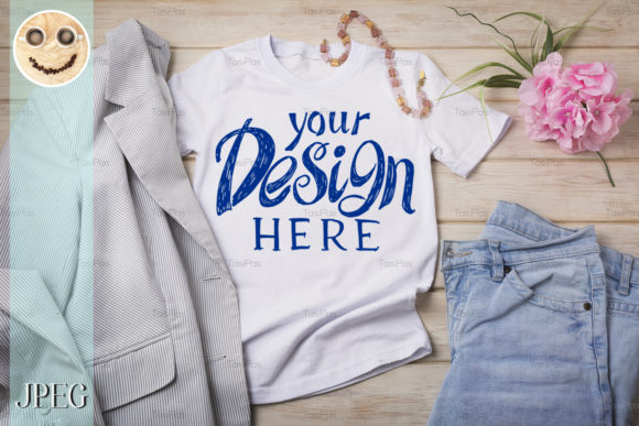 Download Free Women S T Shirt Mockup With Jeans Graphic By Tasipas Creative for Cricut Explore, Silhouette and other cutting machines.