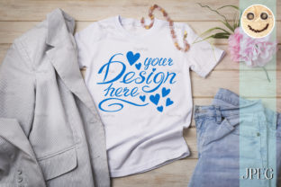 Print on Demand: Women's T-shirt Mockup with Jeans Graphic Product Mockups By TasiPas 3